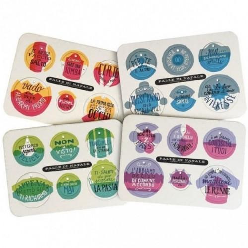 Palle di Natale-Boules de Noël-5ème édition set complet de 4 planches avec 24 disques décoratifs imprimés sur carton recyclé