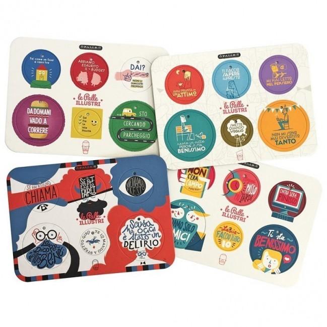 Palle ILLUSTRI - set complet de 4 planches avec 24 disques décoratifs imprimés surcarton recyclé
