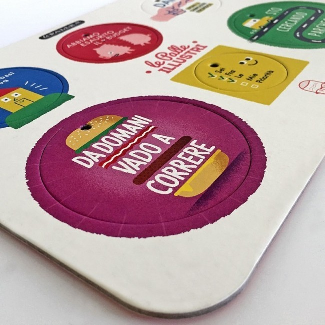 Palle ILLUSTRI - Planche illustrée par Mauro Gatti avec 6 disques décoratifs imprimés surcarton recyclé