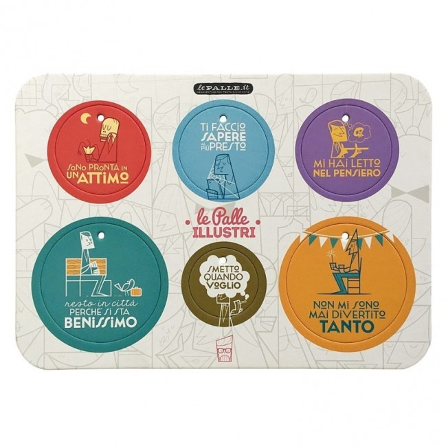 Palle ILLUSTRI - Planche illustrée par Ale Giorgini avec 6 disques décoratifs imprimés surcarton recyclé