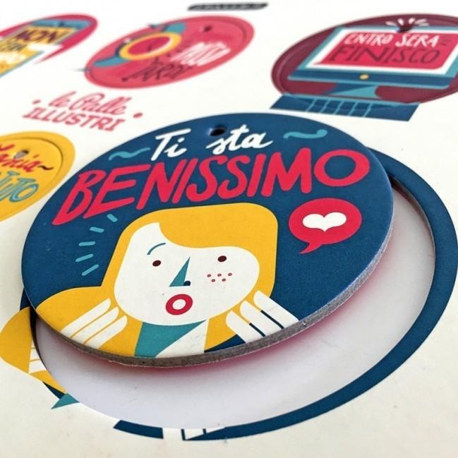 Palle ILLUSTRI - Planche illustrée par Francesco Poroli avec 6 disques décoratifs imprimés surcarton recyclé