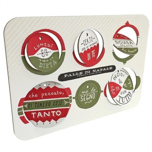 Palle di Natale - Boules de Noël - 4ème édition, Planche 1 – six disques décoratifs imprimés sur carton recyclé