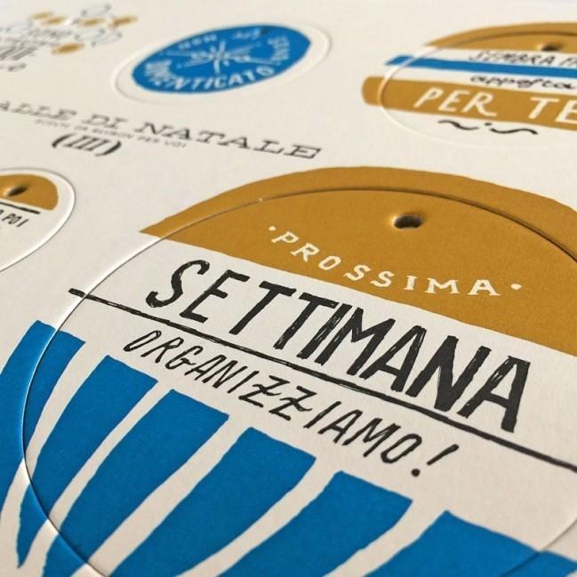 Palle di Natale - 3a edizione, Tavola 3 - sei dischi decorativi stampati su cartone riciclato