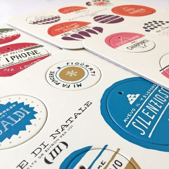Palle di Natale - Boules de Noël-2ème édition, set complet de 4 planches avec 24 disques décoratifs imprimés sur carton recyclé