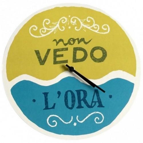 """Horloge murale – """"non vedo l'ora"""" – imprimé sur carton recyclé, diamètre 32cm, avec mécanisme silencieux"""