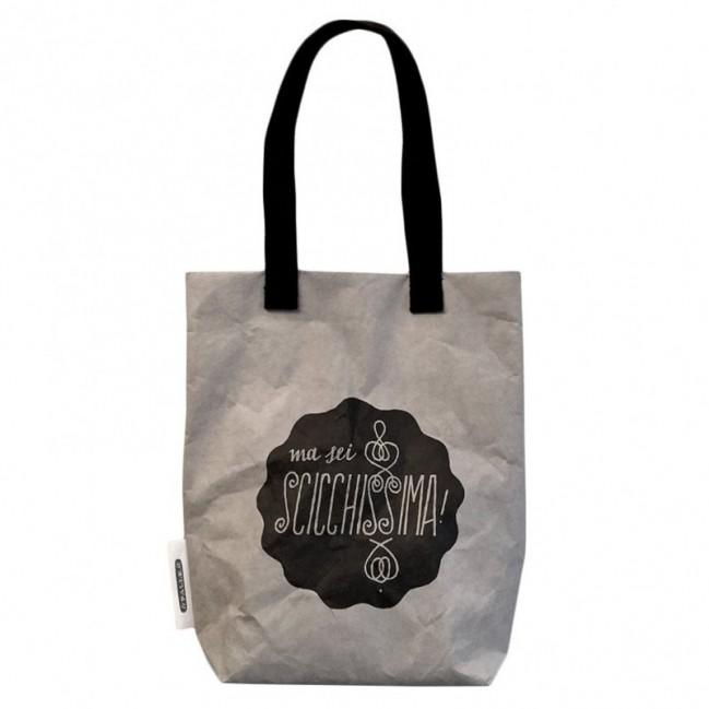 """Shopping Bag """"ma sei scicchissima"""" in fibra di cellulosa color grigio chiaro lavabile e riutilizzabile"""