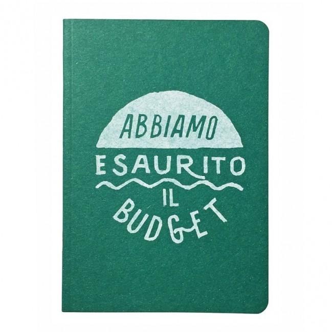 """Notes tascabile """"Abbiamo esaurito il budget"""", copertina verde smeraldo e interno in carta colore nero"""
