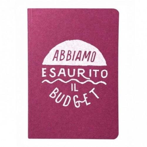 """Carnet """"Abbiamo esaurito il budget"""", couverture fuchsia et intérieur en papier noir."""