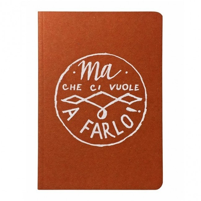 """Notes tascabile """"Ma che ci vuole a farlo!"""", copertina arancione e interno in carta colore nero"""
