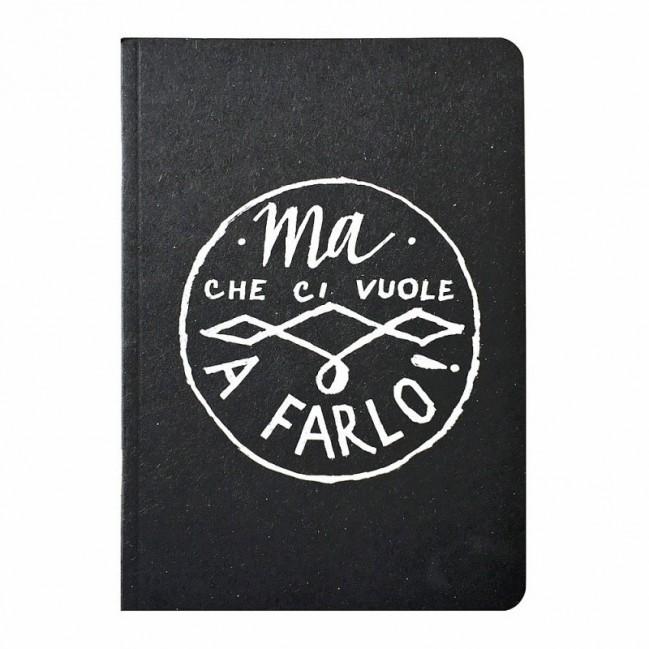 """Notes tascabile """"Ma che ci vuole a farlo!"""", copertina nera e interno in carta colore nero"""