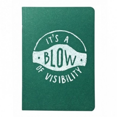 "Notes tascabile ""It's a blow of visibility"", copertina verde smeraldo e interno in carta colore nero"