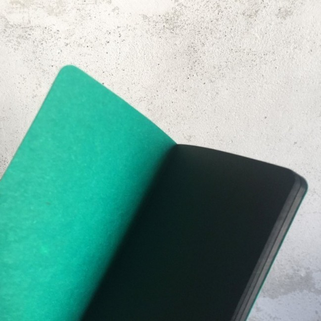 """Carnet """"It's a blow of visibility"""", couverture verte émeraude et intérieur en papier noir."""