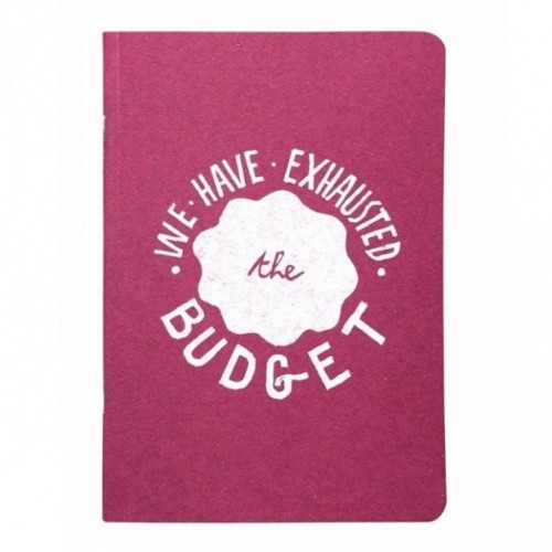 "Notes tascabile ""We have exhausted the budget"", copertina fucsia e interno in carta colore nero"