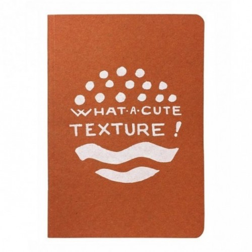 "Notes tascabile ""What a cute texture!"", copertina arancione e interno in carta colore nero"