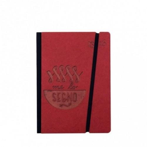 """Taccuino """"Me lo segno"""" copertina rigida ROSSO in cartone naturale, formato SMALL tascabile 11x15 cm"""