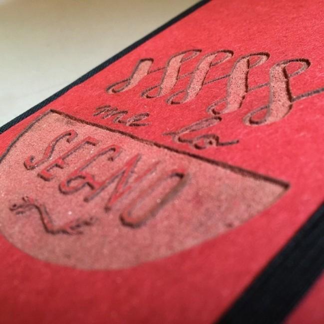 """Taccuino """"Me lo segno"""" copertina rigida ROSSO in cartone naturale, formato LARGE 16x21,7 cm"""