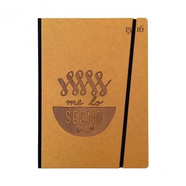 """Taccuino """"Me lo segno"""" copertina rigida OCRA in cartone naturale, formato LARGE 16x21,7 cm"""
