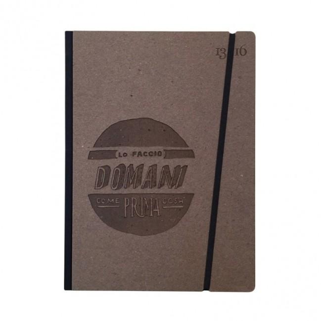 """Carnet """"Lo faccio domani come prima cosa"""" couverture rigide caf en carton naturel, format LARGE 16x21,7 cm"""