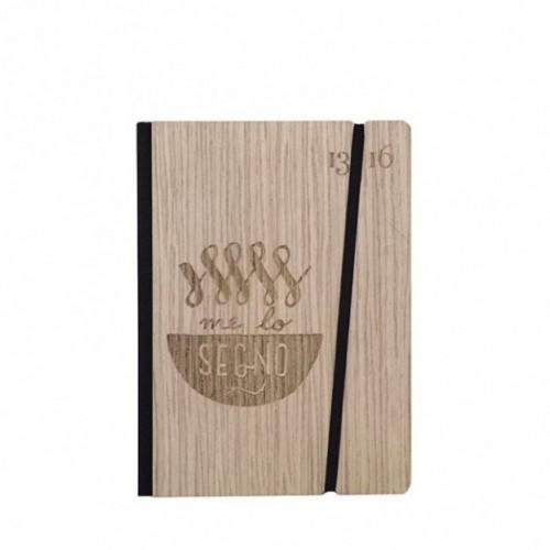 """Carnet """"Me lo segno"""" Couverture rigide en bois de frêne, format de poche - SMALL 11x15 cm"""