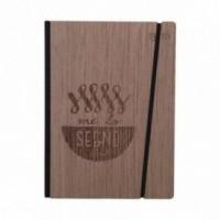 """Carnet """"Me lo segno"""" Couverture rigide en bois de palissandre, format LARGE 16x21,7 cm"""