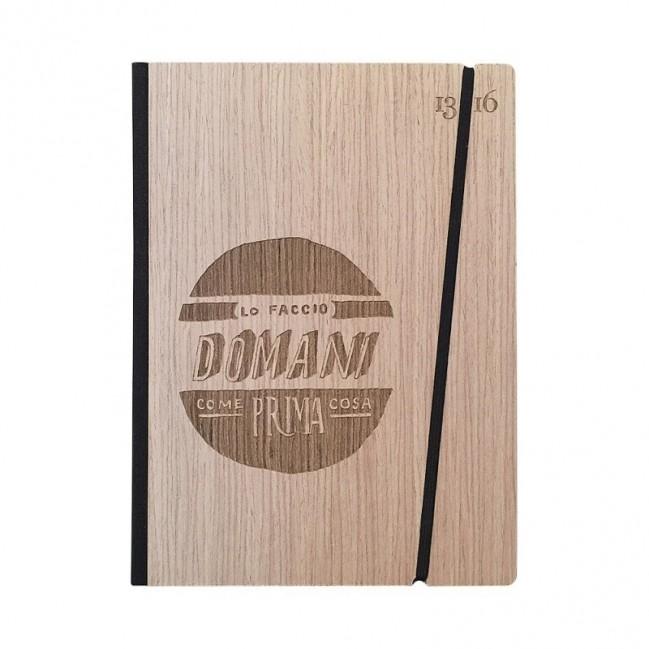 """Carnet """"Lo faccio domani come prima cosa"""" Couverture rigide en bois de frêne, format LARGE 16x21,7 cm"""