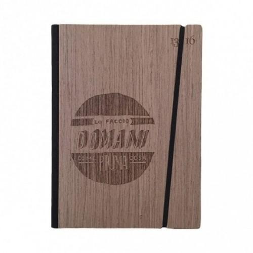 """Taccuino """"Lo faccio domani come prima cosa"""", copertina rigida in legno essenza palissandro, formato LARGE 16x21,7 cm"""