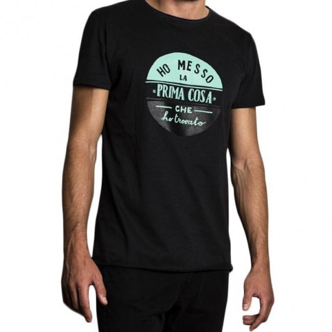 """T-shirt uomo """"ho messo la prima cosa che ho trovato"""" 100% cotone color grigio antracite"""