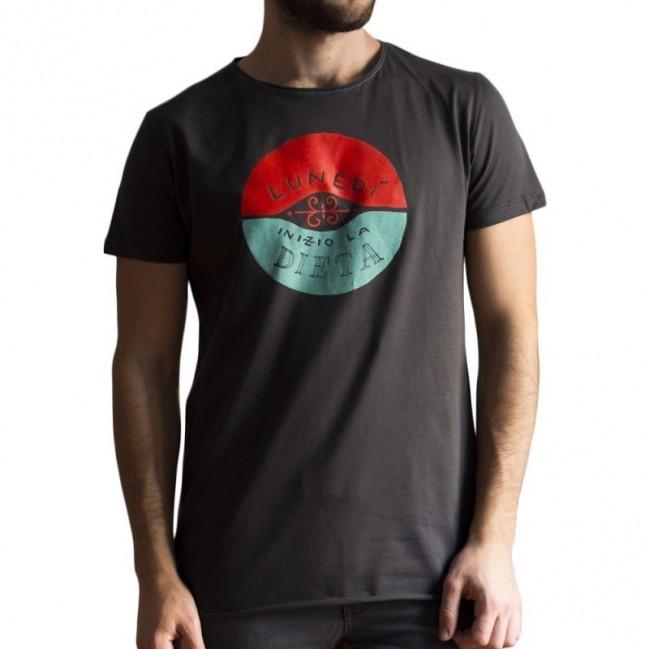 """T-shirt uomo """"lunedì inizio la dieta"""" 100% cotone color grigio antracite"""