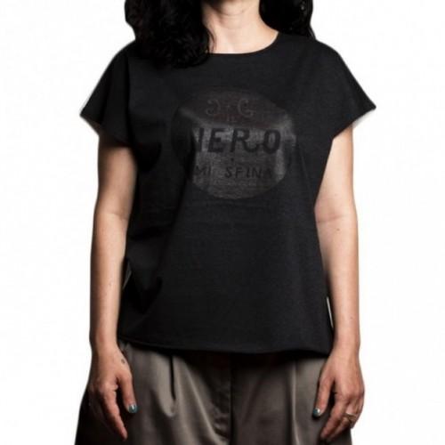 """T-shirt donna """"il nero mi sfina"""" 100% cotone color bianco e grigio antracite"""