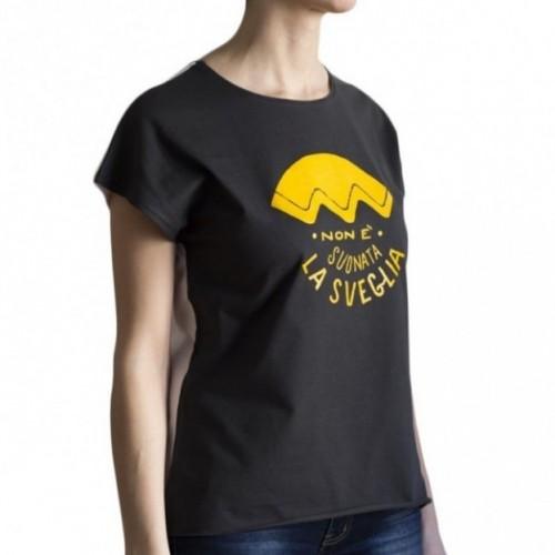 """T-shirt femme """"non è suonata la sveglia"""" 100% coton coloris blanc"""