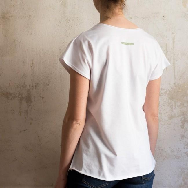 """T-shirt femme """"decidi tu, per me va bene tutto"""" 100% coton coloris blanc"""