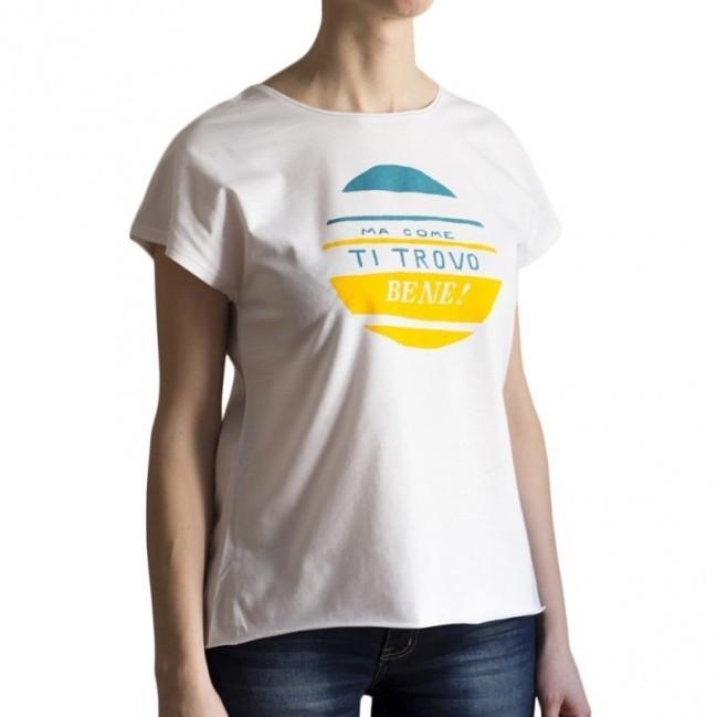 """T-shirt donna """"ma come ti trovo bene!"""" 100% cotone color bianco"""