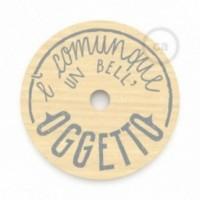 """Le Palle Volanti. Paralume disco in legno con stampa su due facciate - """"E' comunque un bell'oggetto"""" + pattern Trippy"""