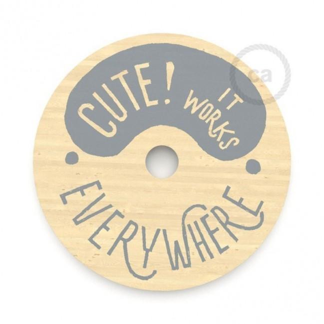 """Le Palle Volanti. Paralume disco in legno con stampa su due facciate - """"Cute! It works everywhere"""" + pattern Stripes"""
