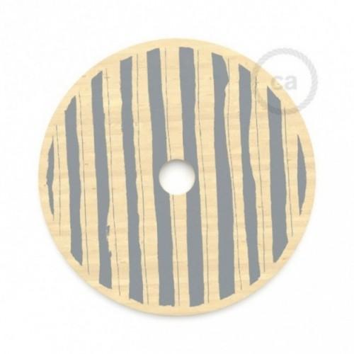 Le Palle Volanti. Paralume disco in legno con stampa su due facciate - pattern Stripes + pattern Dots