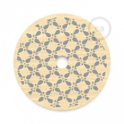 Le Palle Volanti. Abat-jour circulaire en bois imprimé des deux cotés - pattern Drops + pattern Trippy