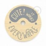 """Suspension complète """"Le Palle Volanti"""" motif """"Cute! It works everywhere"""" + Stripes pattern et cable textile RN06 en jute"""