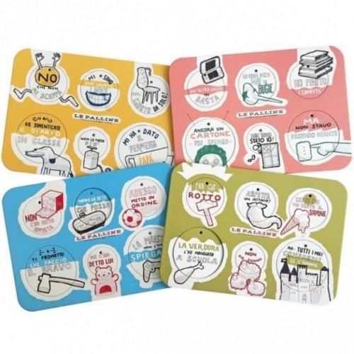 Les Petites Boules - Set complet de 4 planches avec 24 disques décoratifs à colorier, imprimés sur carton recyclé
