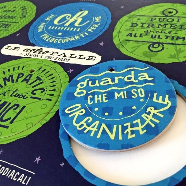 Le AstroPalle di Simon & The Stars - set di 2 tavole per 12 dischi decorativi stampati su cartone riciclato