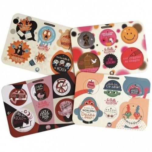 Palle ILLUSTRI vol. 2 - Set di 4 tavole per 24 dischi decorativi stampati su cartone riciclato