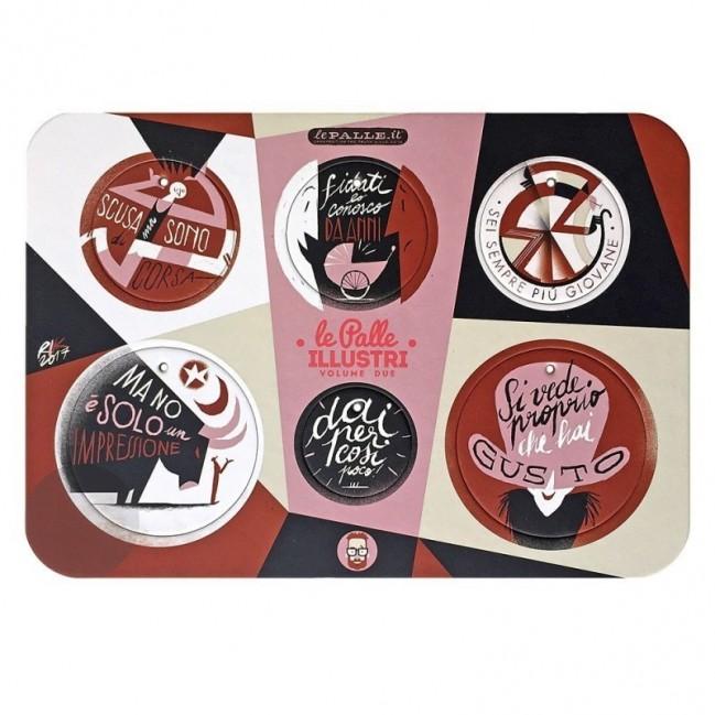 Palle ILLUSTRI vol. 2 - Tavola illustrata da Riccardo Guasco con 6 dischi decorativi stampati su cartone riciclato