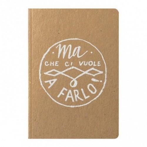 """Notes tascabile """"Ma che ci vuole a farlo!"""", copertina sabbia e interno in carta colore nero"""