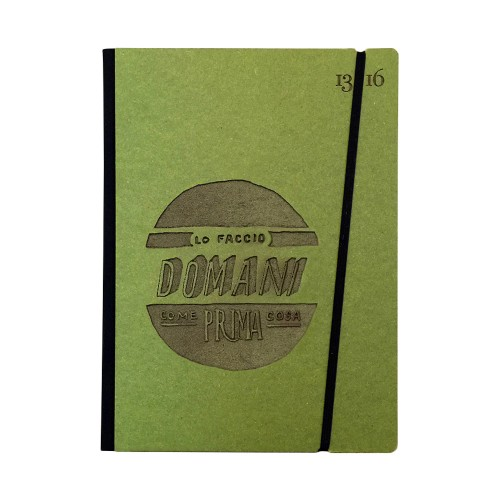 """Taccuino """"Lo faccio domani come prima cosa"""" copertina rigida VERDE in cartone naturale, formato LARGE 16x21,7 cm"""