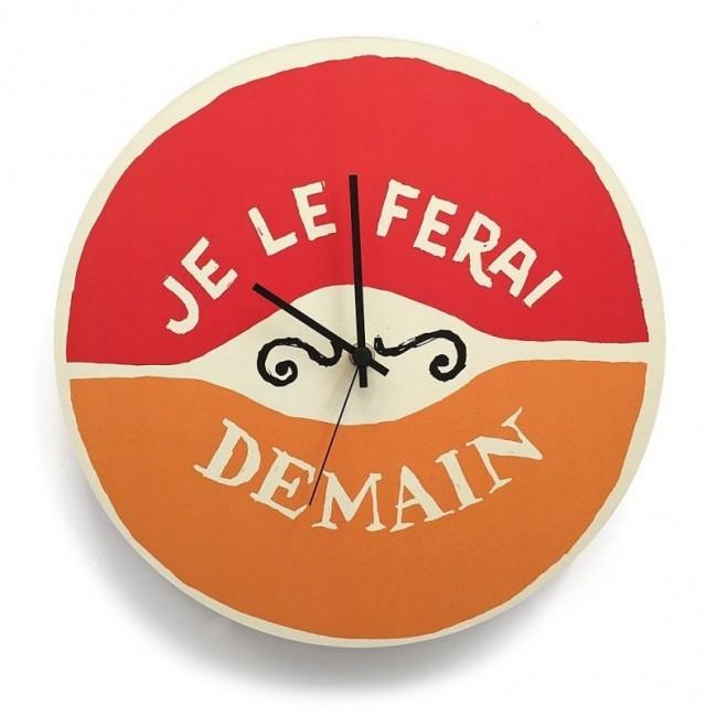 """Orologio da parete - """"Je le ferai demain"""", stampato su cartone riciclato, diametro 32 cm con meccanismo silenzioso"""