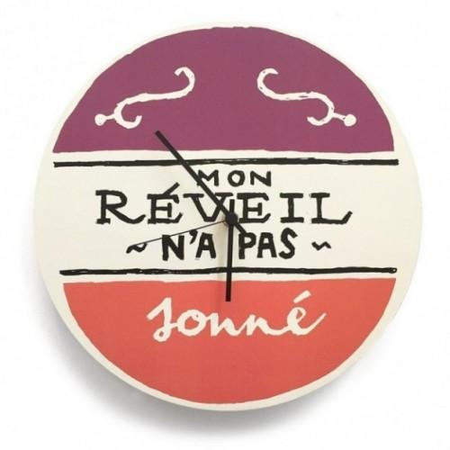 """Orologio da parete - """"Mon réveil n'a pas sonné"""", stampato su cartone riciclato, diametro 32 cm con meccanismo silenzioso"""