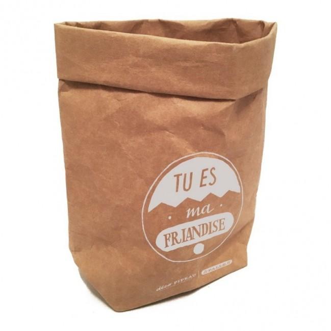 """Sacchino contenitore multiuso """"tu es ma friendise"""" in fibra di cellulosa color avana, lavabile e riutilizzabile"""