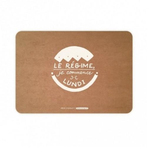 """Set de table """"Le régime, je commence lundi"""" en fibre de cellulose couleur havane, lavable et réutilisable"""