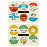 """""""Déco Pipeau - Les Sous Verres"""" - Set de 12 drôle sous-verres colorés, en fible de cellulose lavable et réutilisable."""