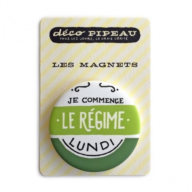 """Deco Pipeau Magnetiche: magnete """"Je commence le régime lundi"""""""