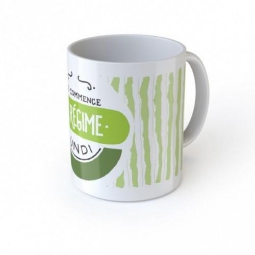 "Mug ""Je commence le régime lundi"", tazza in ceramica"